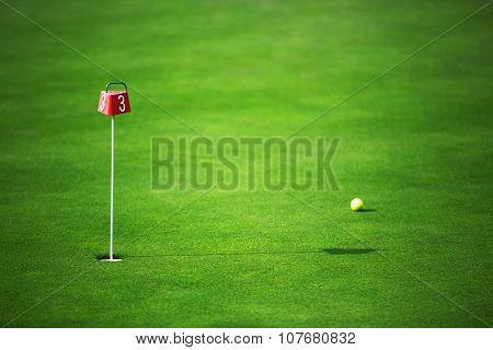 Green Golf Land And Ball Near The Hole