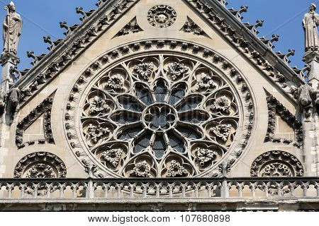 Notre Dame in Paris south facade with rose window