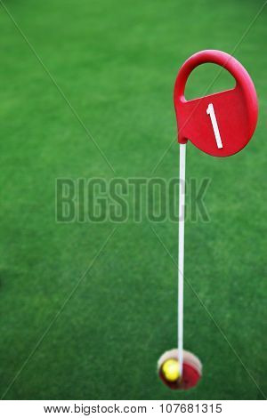 Green Field, Golf Course And Ball At The Hole