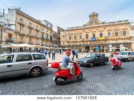 Old Town And Main Square In Ostuni, Italy