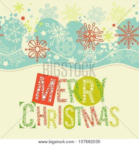 Merry Christmas lettering, Christmas card pattern