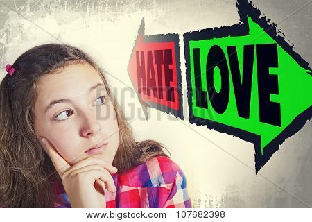 Portrait Of Beautiful Teenage Girl Faced With Choice