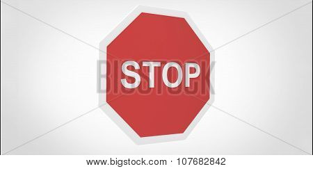 3D Red Stop Sign Pole On White Background
