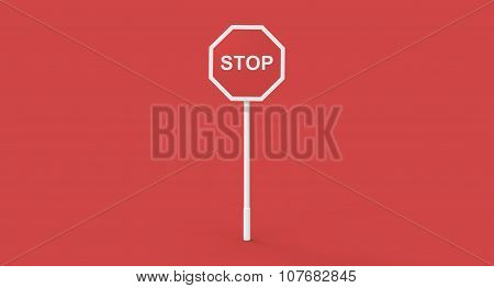 3D Red Stop Sign Pole On Red Background