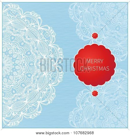 Vintage Greeting Card With Lacy Ornament.