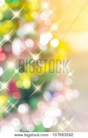 Abstract Blurred Background Of Sparkle Christmas Tree, Made With Color Filters