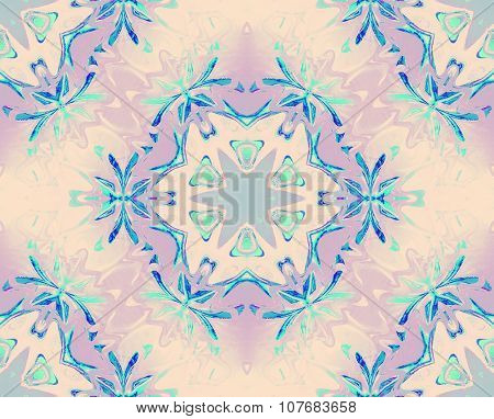 Seamless floral pattern turquoise violet