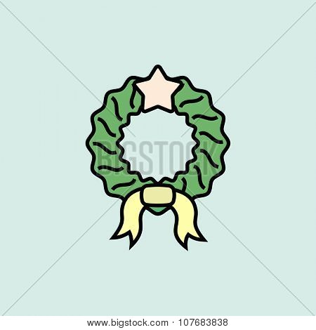 Christmas wreath icon. Vector icons. Linear style