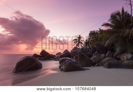 Sunset on Seychelles beach