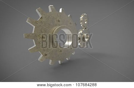 Three 3D Cogs Yellow Big Cog On Grey Gray Background
