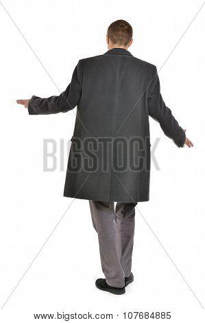Man in coat threw up