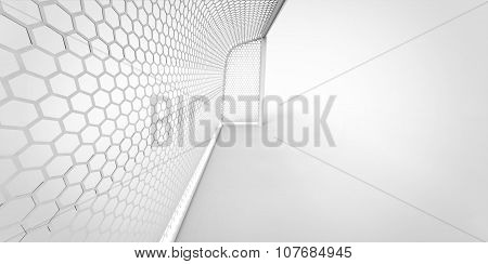 Football (soccer) Goals Post Goalkeeper On Clean Empty Green Field. Concept For Team, Championship,