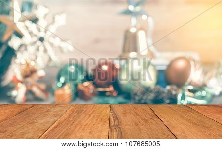 Abstract Blurred Of Christmas Decoration Background, Template Mock Up For Display Of Your Product Fo