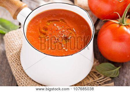 Freshly made tomato soup in a saucepan