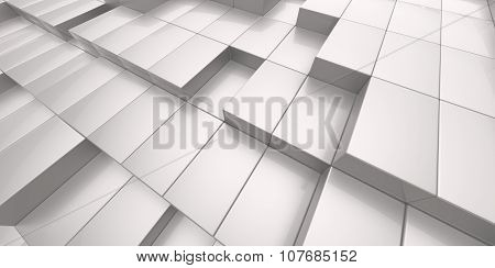 Abstract White Background Of 3D Blocks