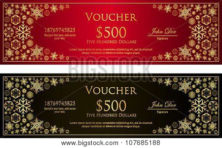 Luxury Red And Black Christmas Voucher With Golden Snowflakes