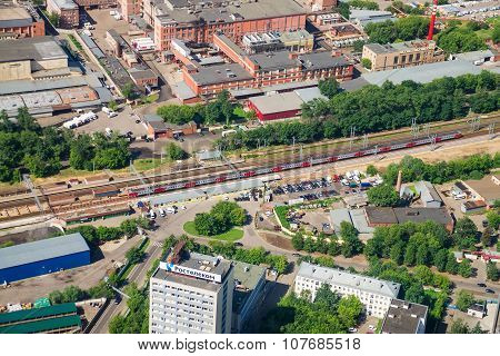 Top View Of Railway And Train, Traveling To Moscow