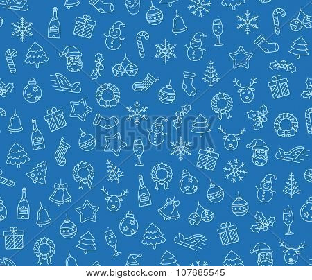 Christmas vector seamless pattern. Christmas symbols on blue background. Vector seamless Illustration