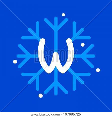 W Letter With Snowflake Icon On The Blue Background.