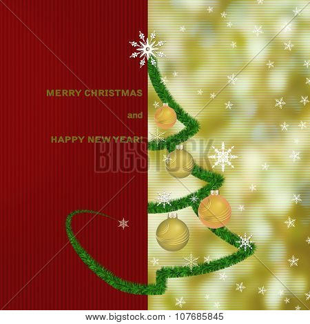 Christmas Greeting Card Background With Fir Tree And Christmas L