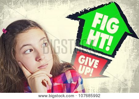 Portrait Of Beautiful Teenage Girl Faced With Choice To Give Up Or To Fight!