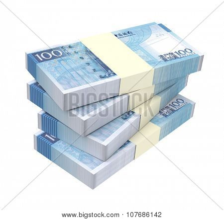 Macanese pataca bills isolated on white background. Computer generated 3D photo rendering.
