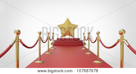 Gold Star On Red Carpet Vip Way Gold Fence On White Gray Background