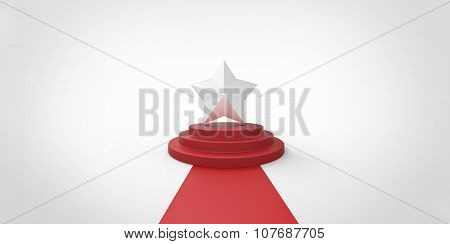 Silver Chrome Star On Red Carpet Vip Way Chrome Silver Fence On White Gray Background