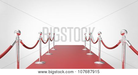 Red Event Carpet Silver Chrome Fence Isolated On A White Background