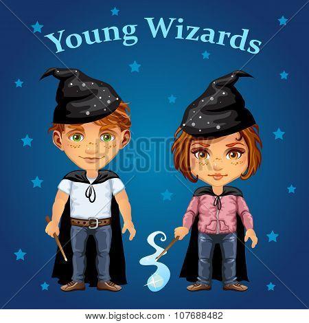 Cartoon boy and girl in wizard costume