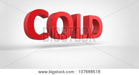 Cold  3D Text Illustration Word Render Isolated On White Grey Gray Background