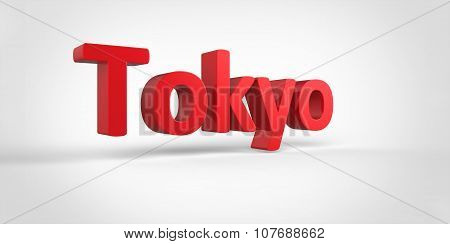 Tokyo 3D Text Illustration Of City Name Render Isolated On White Grey Gray Background