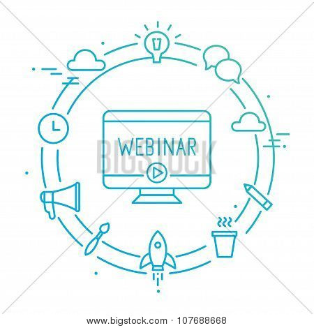 Computer Surrounded by Outline Social Icons. Webinar, Webcast, Livestream, Online Event Illustration