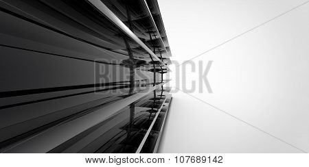 Empty Black Metal Silver Chrome Retail Store Shelves On A Plain Background