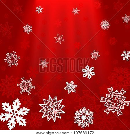 Christmas red square background with rays and snowflakes