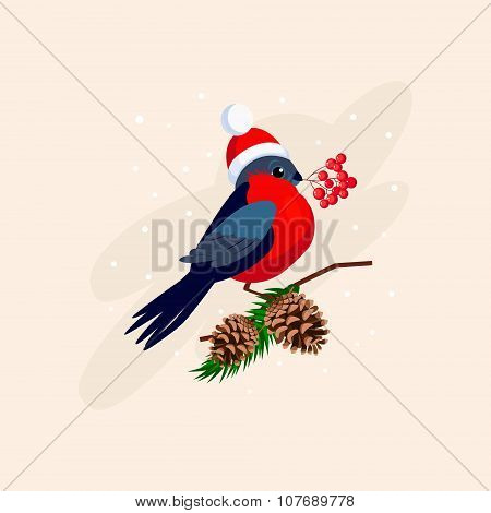 Bullfinch wearing a Hat on Branch with Cones. Vector Illustration