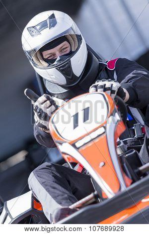Karting Racer Ready For Race