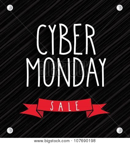 Cyber Monday Sale on wooden background