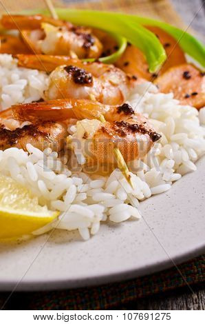 Cooked Shrimp On Skewers