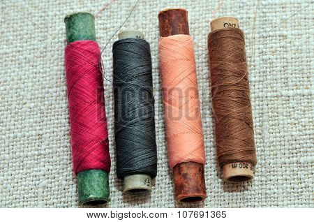 Sewing thread. Spools of sewing thread.