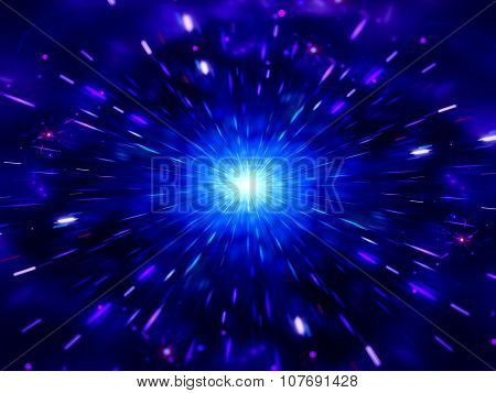 Blue Glowing Exploding In Deep Space With Particles