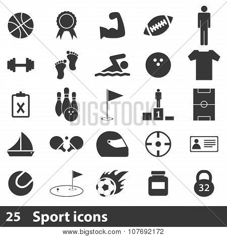 25 sport simple icons set