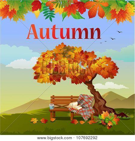 Bright autumn vector postcard