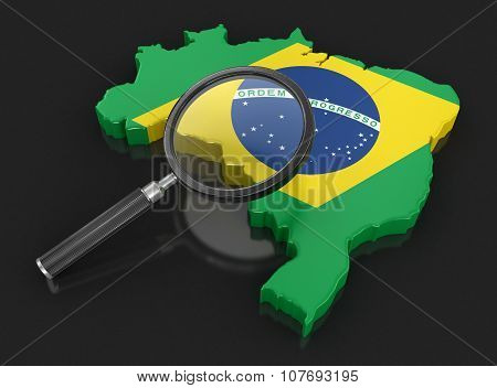 Map of Brazil with loupe