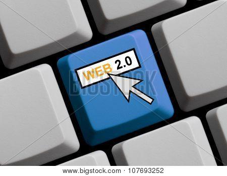 Blue Keyboard Showing Web 2.0