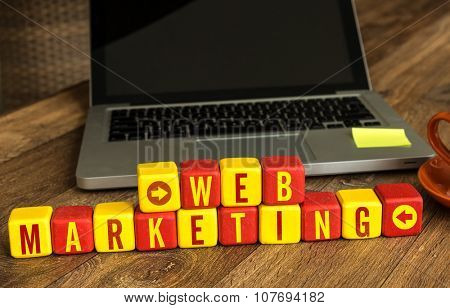 Web Marketing written on a wooden cube in a office desk