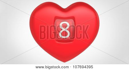 Red 3D Heart Shape With Number 8 Inscribed Women's Mother's Day