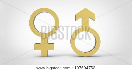 3D Male Men And Female Woman Heart Shaped Sex Symbols, Golden, Isolated Over White Background