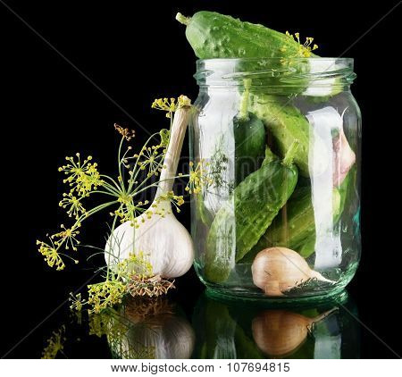 Cucumbers In Jar Preparate For Preserving On Black