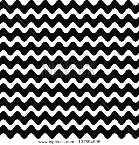 Repeating black and white wave pattern